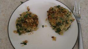 Sweet potato, kale and quinoa fritter
